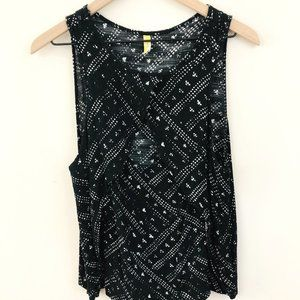 Free People Printed Keyhole Front Top
